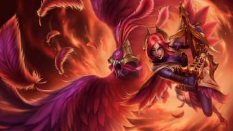 огонь, перья, оружие, девушка, существо, феникс