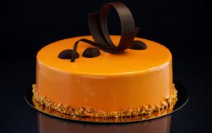 еда, торты, торт, шоколад, орехи, карамельный