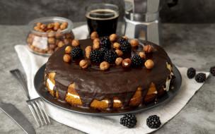 еда, торты, ежевика, торт, орехи