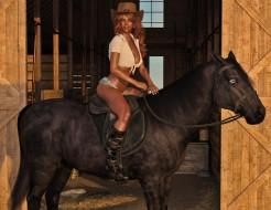 фон, взгляд, девушка, конь