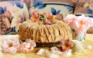 еда, торты, альстромерия, торт, розы