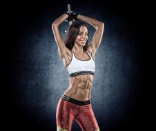 спорт, body building, гантеля, девушка, спортивная, одежда, пресс