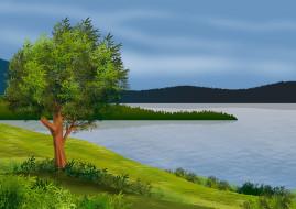 векторная графика, природа , nature, река, лес