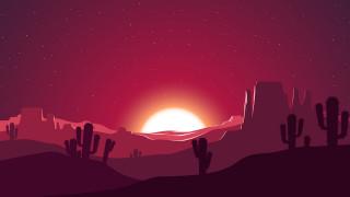 произведение искусства, векторная графика, векторное искусство, skyscape, небо, пейзаж, песок, горы, скалы, пустыня, кактус, вечер, силуэт, сумрак, Sunsunset