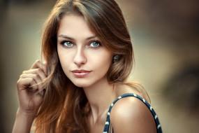 красотка, девушка, взгляд, макияж, лицо, Lea, портрет, модель, шатенка