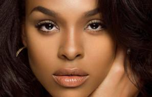 темнокожая, модель, девушка, мулатка, лицо, причёска, макияж, взгляд, Demetria McKinney