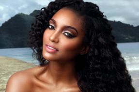 модель, девушка, взгляд, мулатка, темнокожая, лицо, причёска, макияж, Niketa Barker