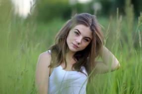 девушка, причёска, макияж, взгляд, шатенка, природа, трава, лицо, модель