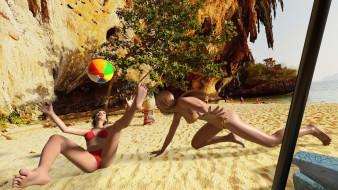 фон, взгляд, девушки, мяч, песок