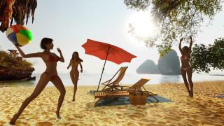взгляд, девушки, море, зонт, фон, пляж, мяч, песок