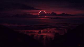 3д графика, природа , nature, skyscape, произведение, искусства, лучи, солнца, цифровое, искусство, небо, цифровая, живопись, рисунок, солнечное, затмение, облака, cолнце, ночное, звезды, темная, ночь, сумрак
