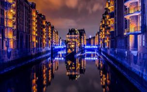 города, гамбург , германия, огни, канал, ночь