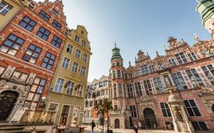 gdansk,  poland, города, - исторические,  архитектурные памятники, большой, арсенал, гданьск, утро, восход, красивые, дома, достопримечательности, польша