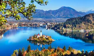 города, блед , словения, панорама, остров, озеро, горы