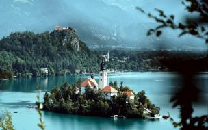 города, блед , словения, остров, озеро, горы
