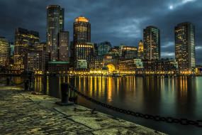 города, бостон , сша, река, вечер, небоскребы, туман