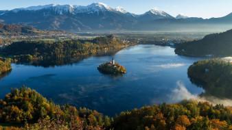 города, блед , словения, озеро, горы, панорама, остров