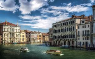 города, венеция , италия, лодки, канал