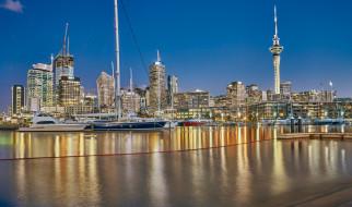 auckland, new zealand, города, окленд , новая зеландия, новая, зеландия, гавань, окленд, город, свет, причал, яхты