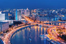 огни, столица, ночь, россия, город, москва
