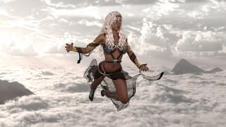 девушка, полет, облака, фон