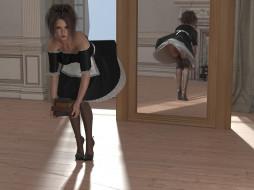 взгляд, фон, девушка, книги, зеркало