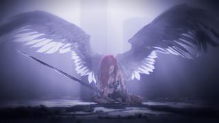 фон, меч, крылья, девушка