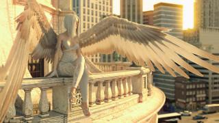девушка, фон, крылья, балкон