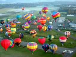 простор, полет, шары, воздушные, небо