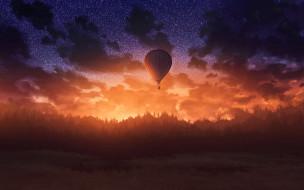 шар, воздушный, полет, небо, простор