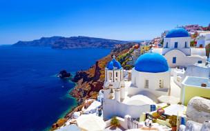 города, санторини , греция, панорама