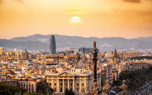 города, барселона , испания, панорама