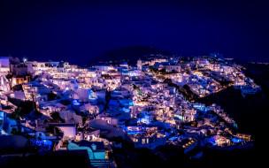 города, санторини , греция, панорама, вечер