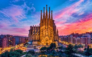 города, барселона , испания, собор