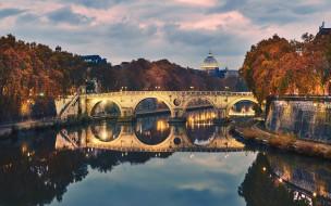 огни, мост, река, вечер