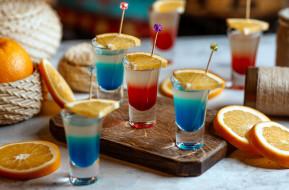 апельсин, рюмки, алкоголь