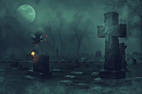 лампа, кладбище, фон, ворон, роза