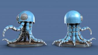 3D, железо, машина, осьминог, робот