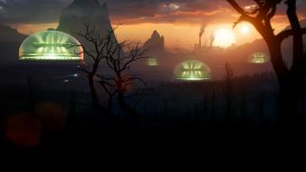 пейзаж, город, планета, фантастика, мир, Другой, вид, ночь, космос
