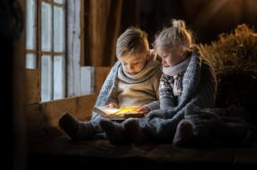 дети, окно, книга
