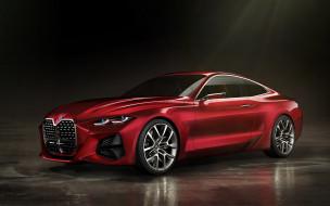 немецкие автомобили, 2019, красный, концепт, купе, concept 4, bmw, вид спереди, экстерьер