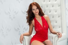Гриненко, Руфина, Lydia A, взгляд, глаза, красотка, красный, девушка, рыжеволосая, портрет, лицо
