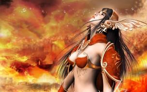 девушка, костюм, огонь