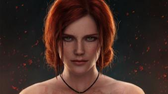 видео игры, the witcher 3,  wild hunt, лицо, искры, рыжая, ведьма, трисс, меригольд
