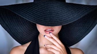 шляпа, губы, рука, женщина