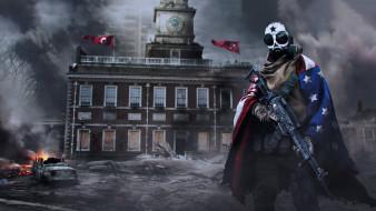 мужчина, фон, маска, флаг, автомат, дом