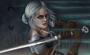 меч, взгляд, шрам, девушка, фон