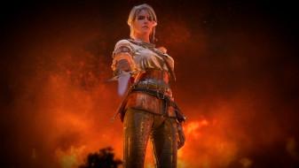 фон, униформа, меч, взгляд, девушка