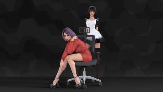 фон, взгляд, кресло, девушки