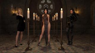 униформа, взгляд, платье, свеча, девушки, фон